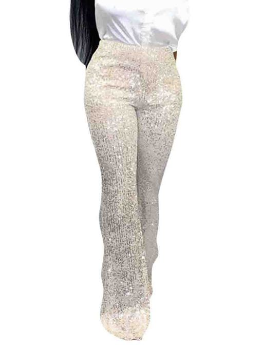 Ericdress Sequins Plain Loose Full Length Mid Waist Casual Pants