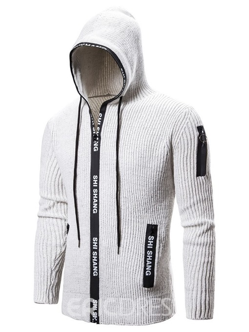 Ericdress Patchwork Letter Hooded Zipper Casual Men's Sweater