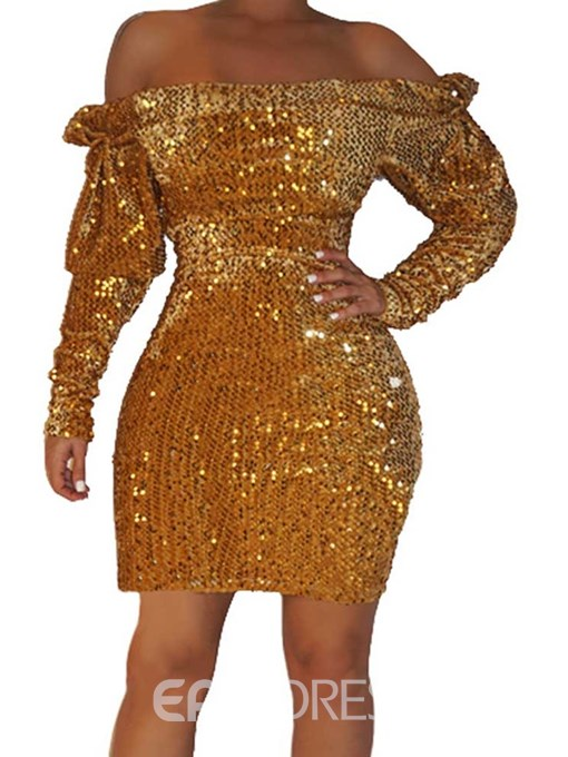 Ericdress Sequins Off Shoulder Above Knee Cold Shoulder Party/Cocktail Dress
