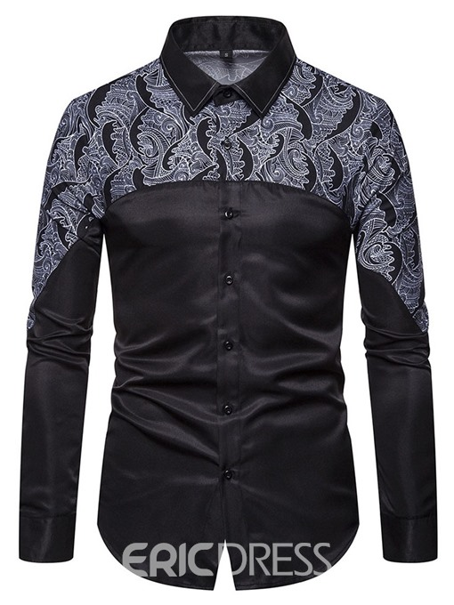 Ericdress Color Block England Print Single-Breasted Slim Men's Shirt