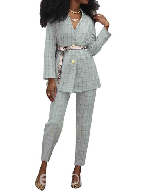 Ericdress Ankle Length Office Lady Plaid Two Piece Sets