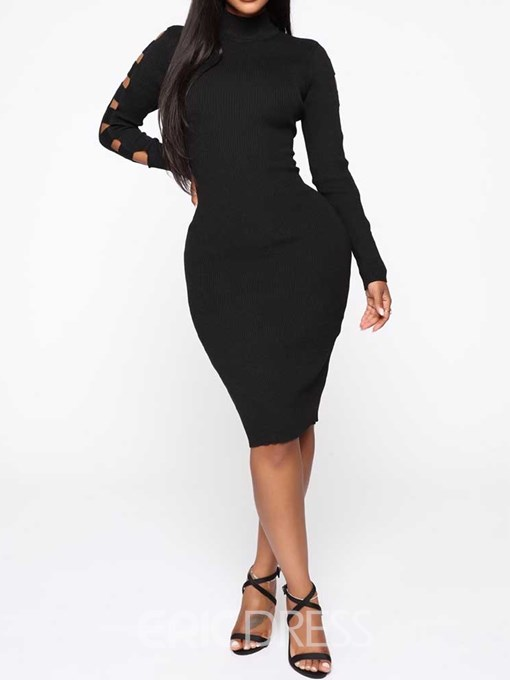 Ericdress Long Sleeve Turtleneck Hollow Fall Mid Waist Dress