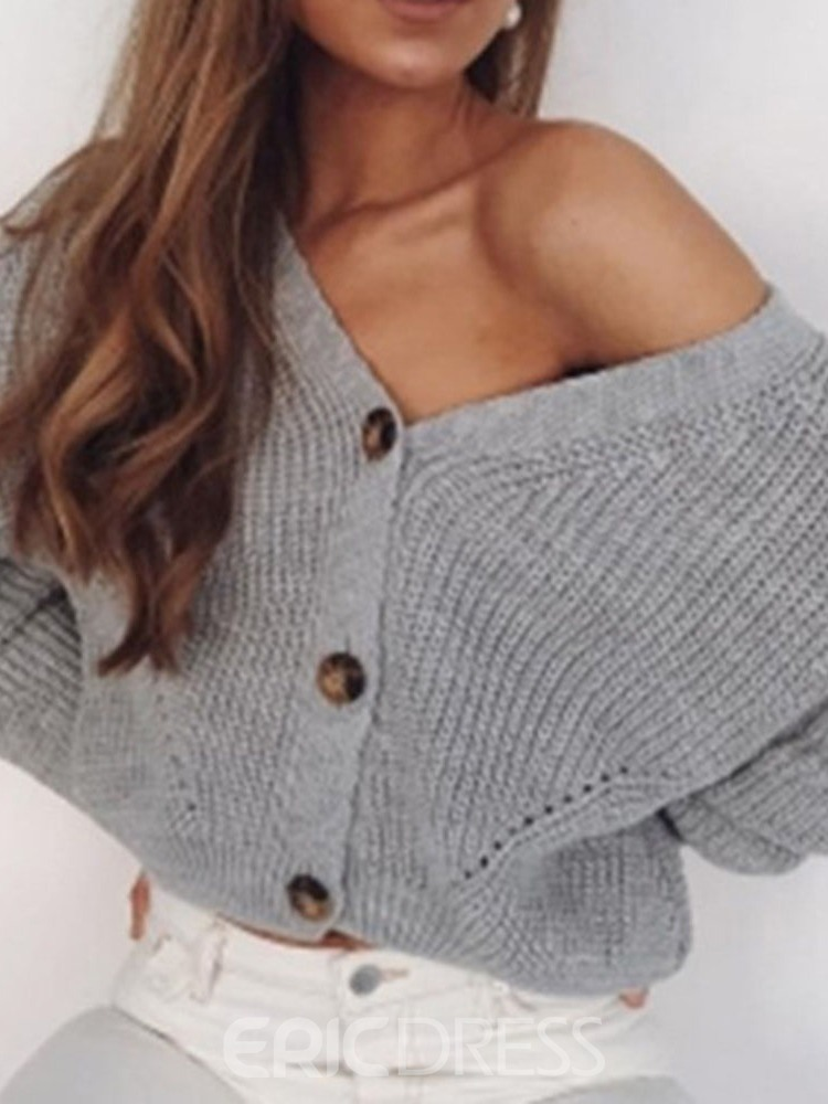 Ericdress Single-Breasted Thick Regular Standard V-Neck Sweater