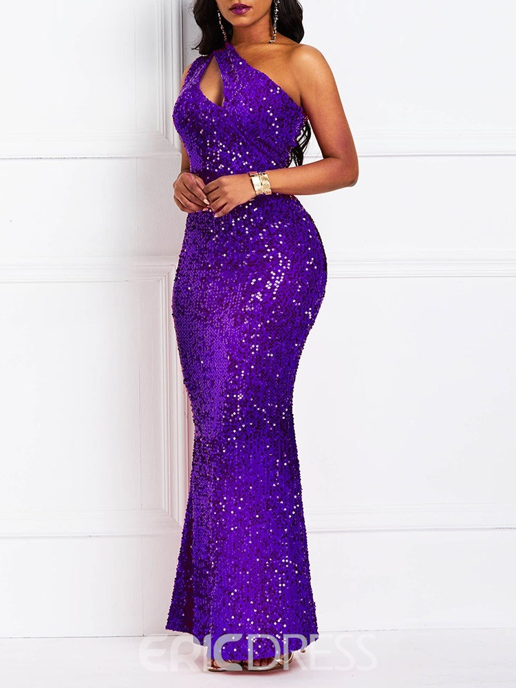 Ericdress Sequins Oblique Collar Floor-Length One-Shoulder Standard-Waist Dress