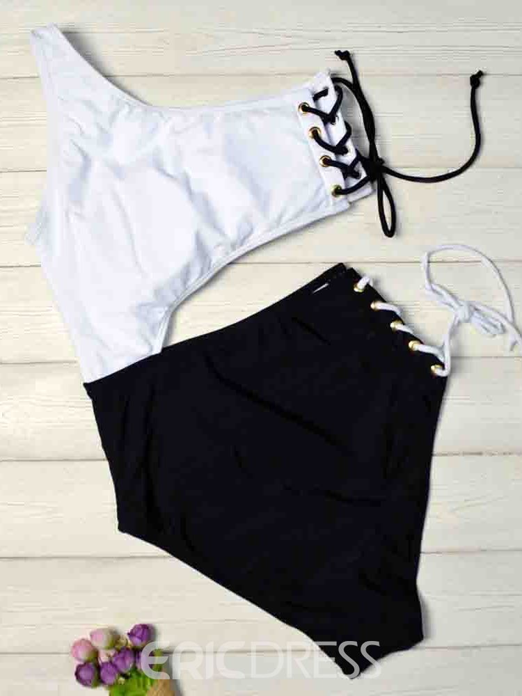 Ericdress Lace-Up Color Block One Piece Swimwear