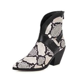 Ericdress Chunky Heel Color Block Back Zip Serpentine Women's Boots