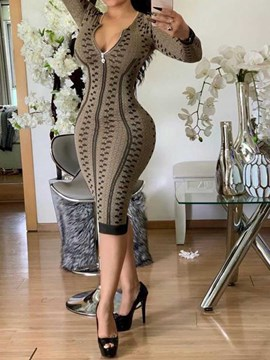 Ericdress Print Mid-Calf Long Sleeve Sexy Bodycon Dress