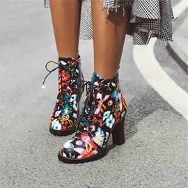 Ericdress Floral Color Block Round Toe Chunky Heel Women's Ankle Boots