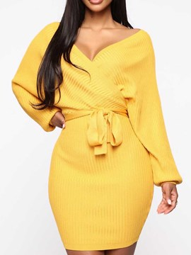 Ericdress Long Sleeve Above Knee V-Neck Fall Pullover Bodycon Dress