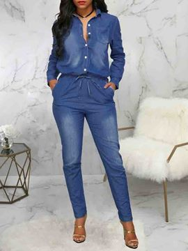 Ericdress Button Full Length Slim Jumpsuit
