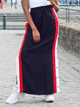 Ericdress Ankle-Length Straight Color Block Casual Skirt