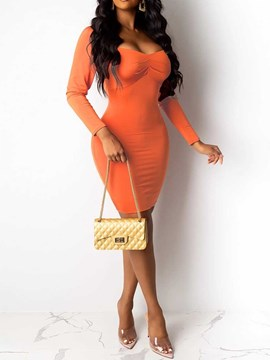 Ericdress Above Knee Scoop Nine Points Sleeve Western Bodycon Dress