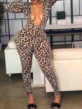 Ericdress Leopard Ankle Length Slim Jumpsuit