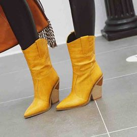 Ericdress Pointed Toe Slip-On Chunky Heel Women's Boots