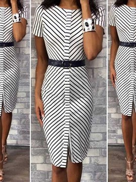 Ericdress Knee-Length Split Short Sleeve Regular Bodycon Dress