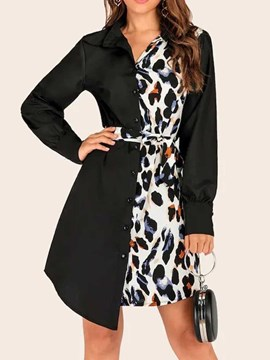 Ericdress Lapel Print Above Knee Western Regular Dress