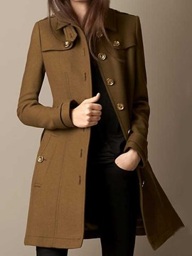 Ericdress Slim Button Single-Breasted Mid-Length Lapel Overcoat