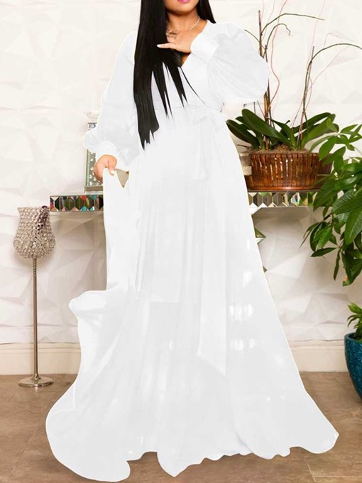Ericdress Long Sleeve V-Neck Floor-Length Expansion Mid Waist Dress