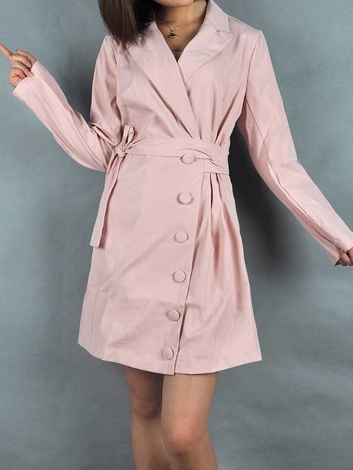 Ericdress Above Knee Notched Lapel Lace-Up Plain Fall Dress