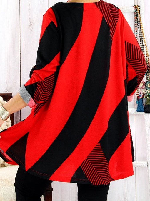Ericdress Round Neck Mid-Length Long Sleeve Casual Loose T-Shirt