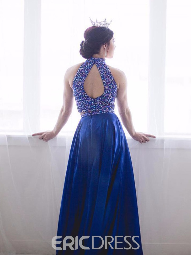 Ericdress Beading High Neck Two Pieces Prom Dress