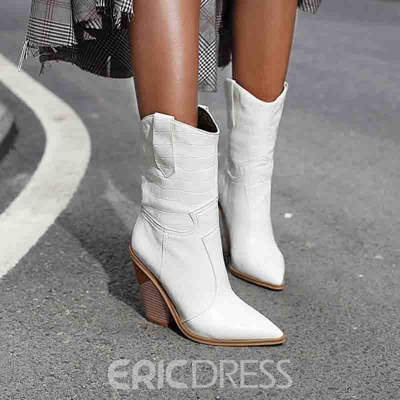 ericdress spitzen Zehen Slip-On Blockabsatz Thread Stiefel