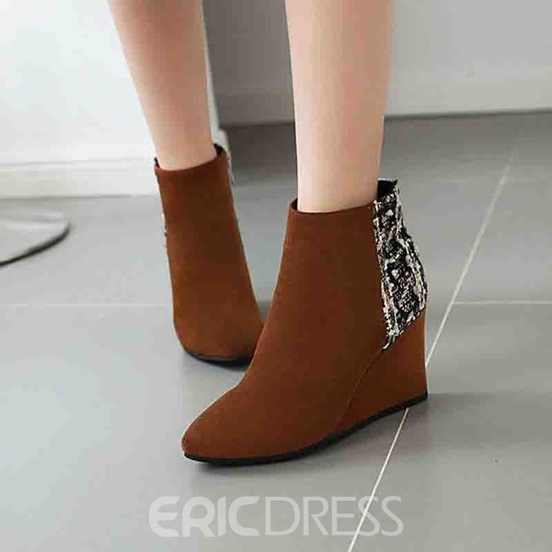 Ericdress Pointed Toe Side Zipper Color Block Women's Ankle Boots