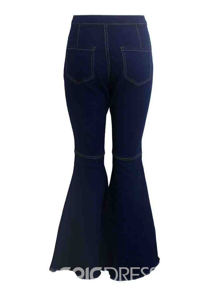 ericdress bellbottoms jean slim uni lavable