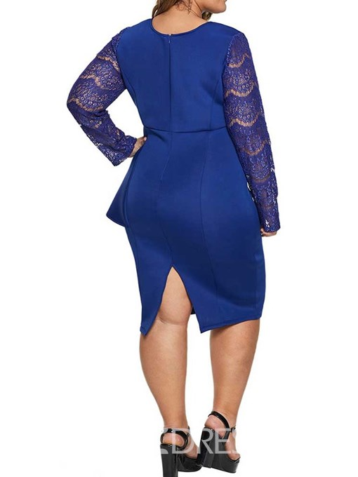 Ericdress Plus Size Long Sleeve Knee-Length V-Neck Bodycon Pullover Dress