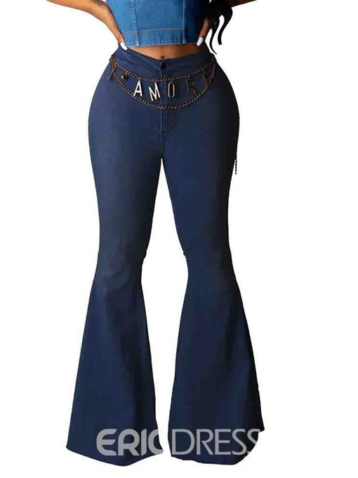 Ericdress Bellbottoms Washable Plain Slim Jeans