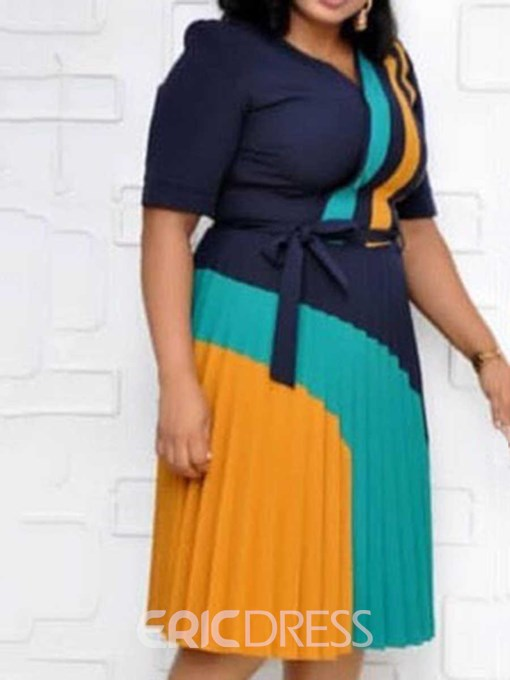 Ericdress Plus Size Mid-Calf V-Neck Short Sleeve Color Block Date Night/Going Out Dress