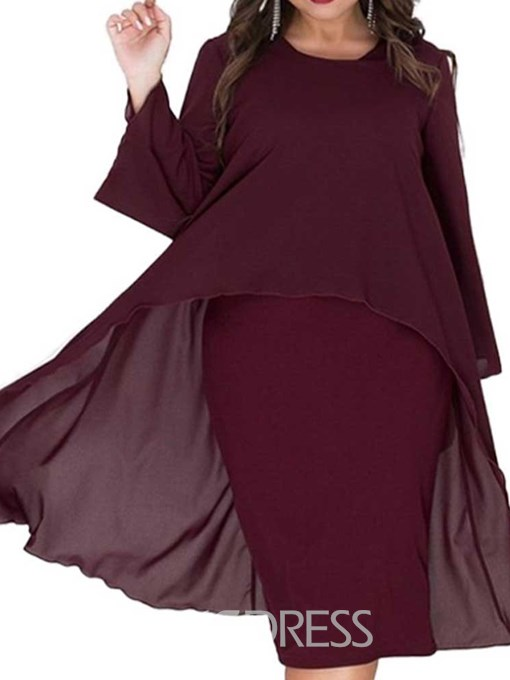 Ericdress Plus Size Long Sleeve Round Neck Mid-Calf Western Spring Dress
