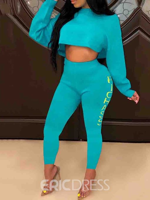 Ericdress Letter Sports T-Shirt Pullover Two Piece Sets