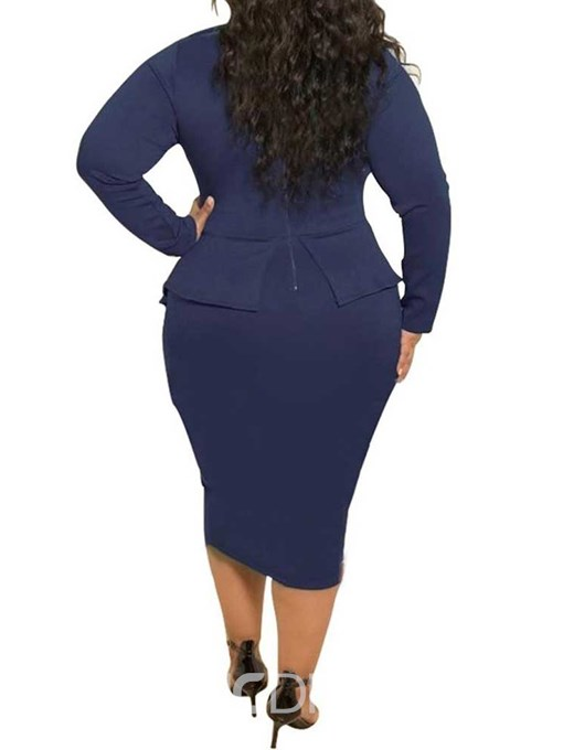 Ericdress Plus Size Bow Collar Mid-Calf Long Sleeve Bodycon High Waist Dress