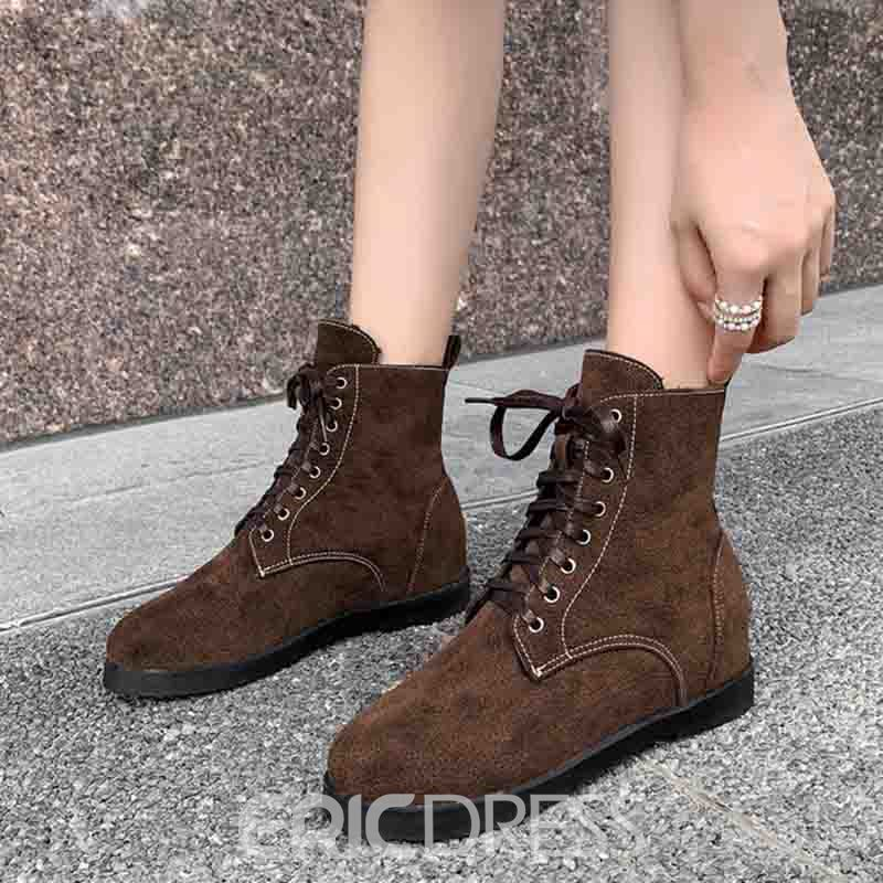 Ericdress Lace-Up Front Round Toe Block Heel Women's Flat Boots