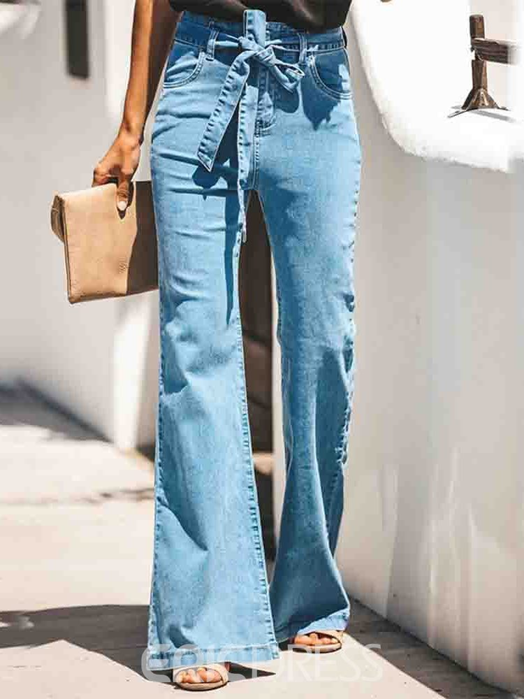 Ericdress Bellbottoms Washable High Waist Slim Jeans
