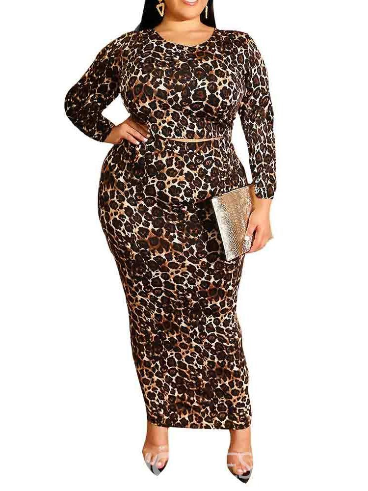 Ericdress Plus Size Leopard Pullover Round Neck Two Piece Sets