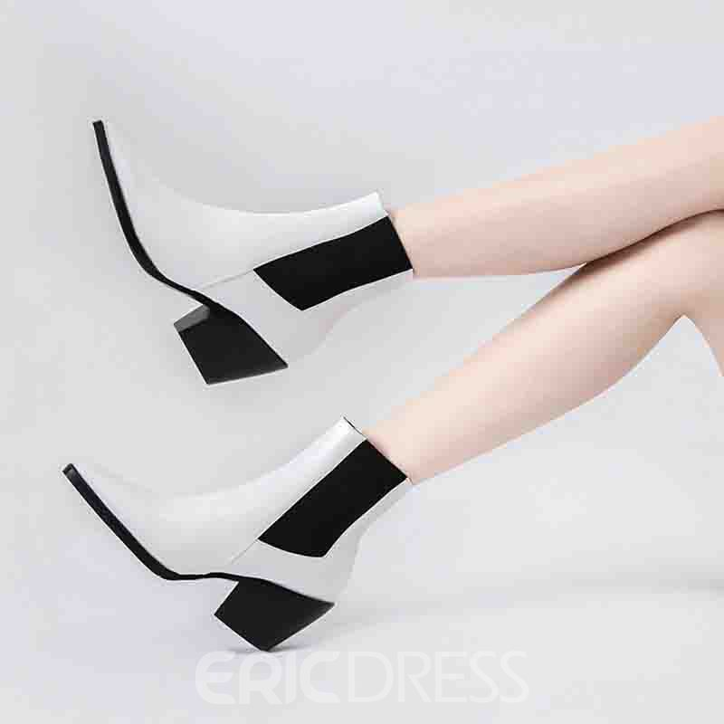 Ericdress Slip-On Color Block Pointed Toe Women's Casual Boots