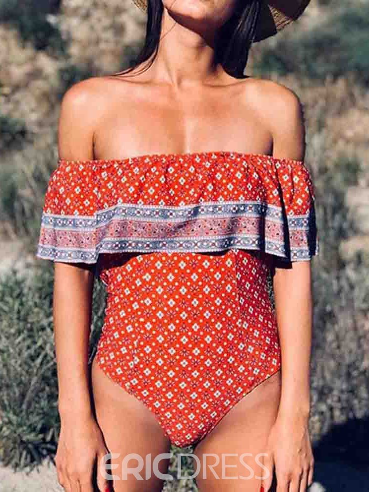 Ericdress Off Shoulder Print Color Block Sexy Swimwear
