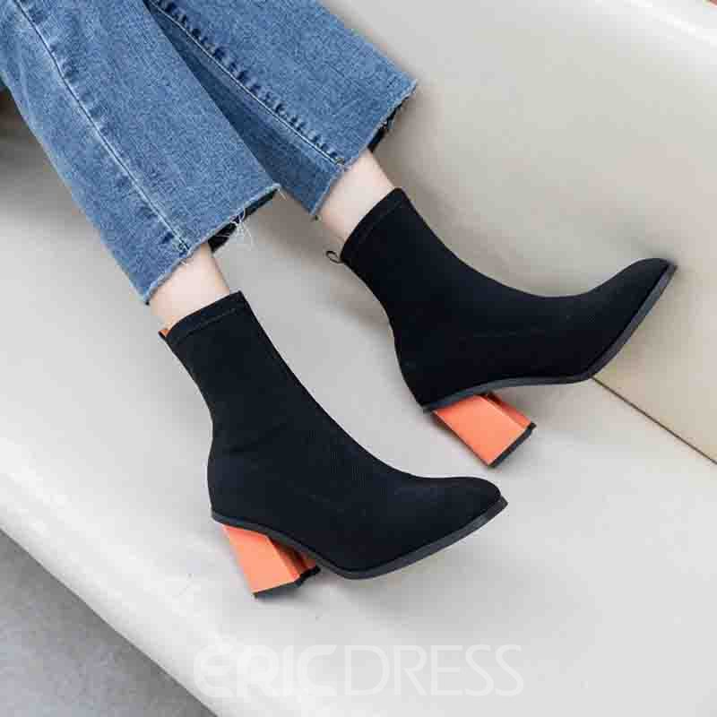 Ericdress Color Block Round Toe Chunky Heel Slip-On Women's Ankle Boots