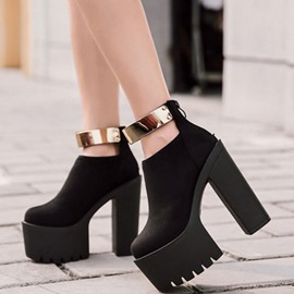 Ericdress Chunky Heel Round Toe Platform Patchwork Women's Ankle Boots
