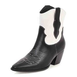 Ericdress Pointed Toe Chunky Heel Color Block Women's Ankle Boots