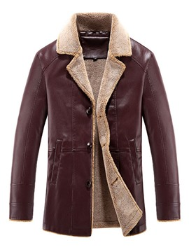 Ericdress Lapel Mid-Length Slim Leather Men's Jacket