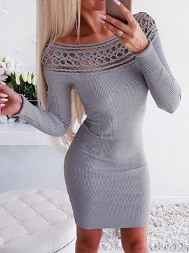 Ericdress Above Knee Long Sleeve Round Neck Mid Waist Bodycon Dress