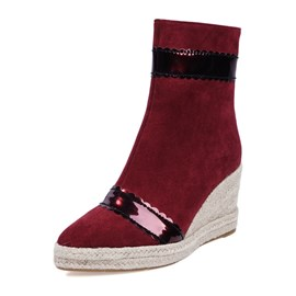 Ericdress Round Toe Patchwork Wedge Heel Side Zipper Women's Boots
