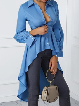 Ericdress Lapel Plain Long Long Sleeve Blouse