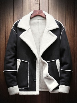 Ericdress Patchwork Color Block Breasted Fashion Men's Coat