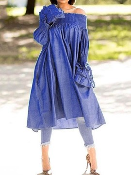 Ericdress Long Sleeve Mid-Calf Pleated High Waist Casual Dress