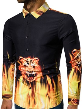 Ericdress Button Lapel Animal Single-Breasted Men's Slim Shirt