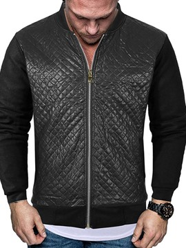 Ericdress Plain Stand Collar Patchwork Zipper Men's Jacket